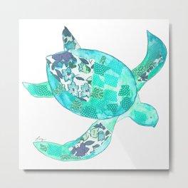 Ocean Blue Sea Turtle Metal Print