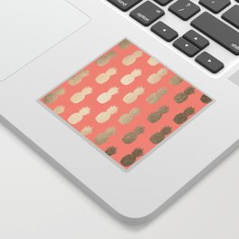 Gold Pineapples on Coral Pink Sticker