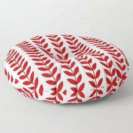 Red Scandinavian leaves pattern Floor Pillow