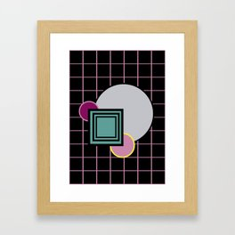 Futuristic universe with primary colors and retro aesthetics reminiscent of a teenage world Framed Art Print