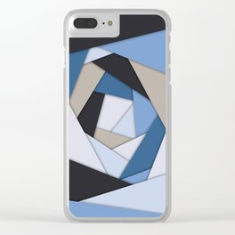 Abstract Blues Geometric Layers Clear iPhone Case
