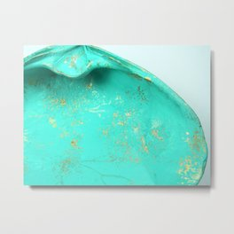 Turquoise Gemstone Seashell, Seashell Photography Metal Print