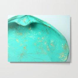 Turquoise Gemstone Seashell, Seashell Photography Metal Print
