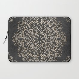 Mandala White Gold on Dark Gray Laptop Sleeve