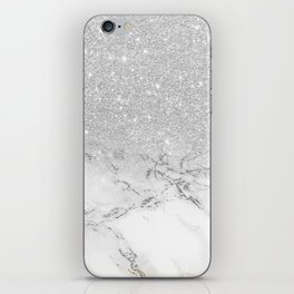 Modern faux grey silver glitter ombre white marble iPhone Skin