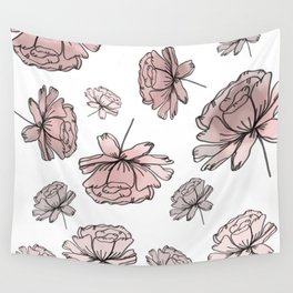 Hand Drawn Peonies Dusty Rose Wall Tapestry