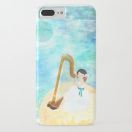 Harp girl: Music from the moon iPhone Case