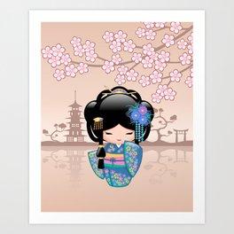 Japanese Keiko Kokeshi Doll Art Print