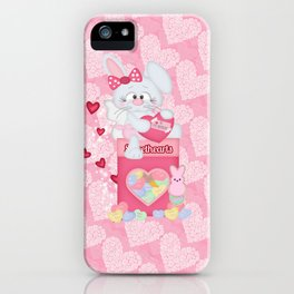 Valentines Bunny and Sweet Heart Candy iPhone Case