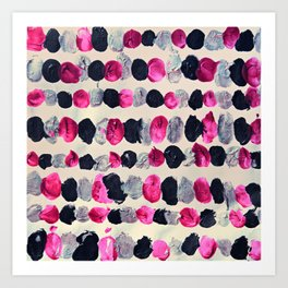Beads of Black, Pink & Silver - abstract painting Art Print