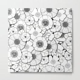 Black and white flower pattern Metal Print