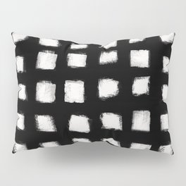 Polka Strokes - Off White on Black Pillow Sham