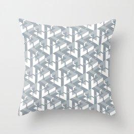 Triangle Optical Illusion Gray Medium Throw Pillow