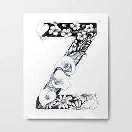 Floral Pen and Ink Letter Z Metal Print