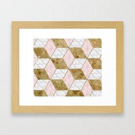 Dazzling marble geo - golden Framed Art Print