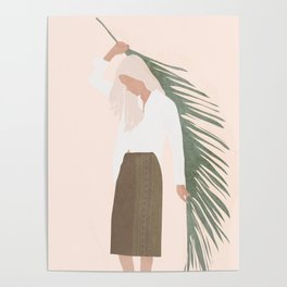 Holding a Palm Leaf Poster