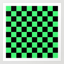 Black and Green Checkerboard Pattern Art Print