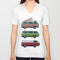 vw V-neck T-shirts featuring VW Camper by WyattDesign