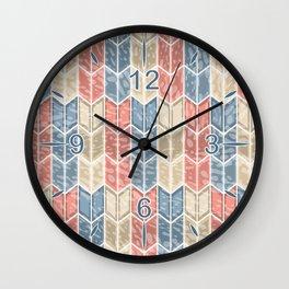 Geometric Shabby Farmhouse Chevron Arrows Pattern in Muted Coral Blue Beige Wall Clock
