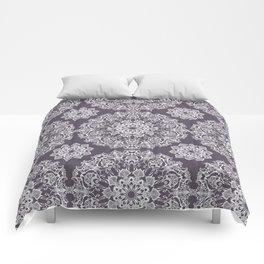 hand drawn white mandala on dark violet background Comforters