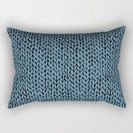 Hand Knit Niagra Blue Rectangular Pillow