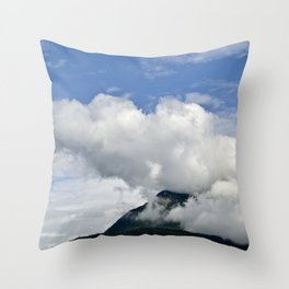 Mountain's 'Smoke Stack' of Big Puffy Clouds Throw Pillow