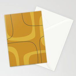 Retro Loops Minimalist Midcentury Modern Pattern in Mustard Tones with Navy Blue Accents Stationery Cards