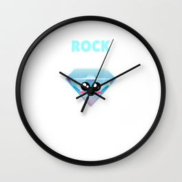You Are My Rock Under Pressure Cute Diamond Pun Wall Clock