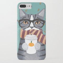 Grey Tabby Autumn Coffee Cat iPhone Case