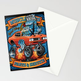 Classic Sixties Muscle Car Parts & Service Cartoon Stationery Cards