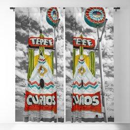 Tepee Curios Tourist Trap Tucumcari New Mexico Route 66 Vintage Neon Blackout Curtain