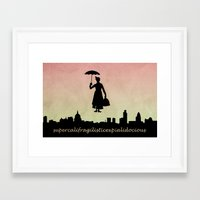 mary poppins Framed Art Prints featuring mary poppins by cubik rubik