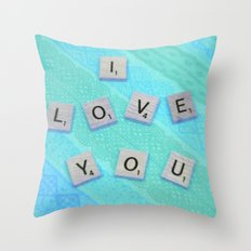 Darling I Love You In Teal Throw Pillow