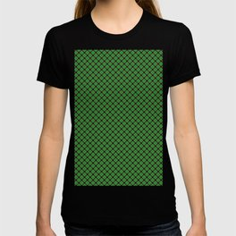 Christmas Holly Green and Red Diagonal Argyle Tartan with Crossed Red and White Lines T-shirt