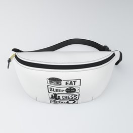 Eat Sleep Chess Repeat - Checkmate Checkerboard Fanny Pack