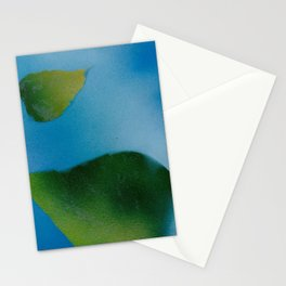 Green Leaves falling Stationery Cards