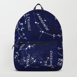 French October Star Map in Deep Navy & Black, Astronomy, Constellation, Celestial Backpack
