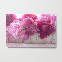 Romantic Paris Pink Peonies Prints and Home Decor Metal Print