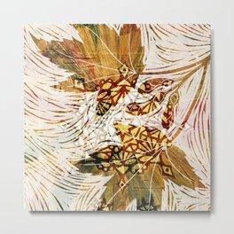 Digital collage - leaves like woodcut Metal Print