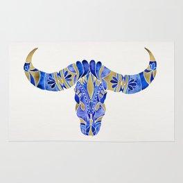 Water Buffalo Skull – Navy & Gold Rug