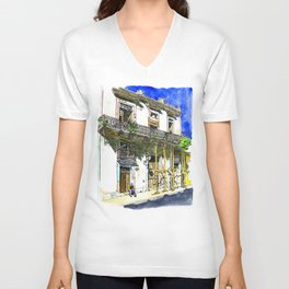 Man Sitting in Front of His House, Habana Vieja, Cuba Unisex V-Neck