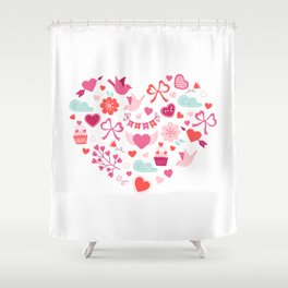 Valentines Day Heart #12 - Birds, Bows, Love Shower Curtain