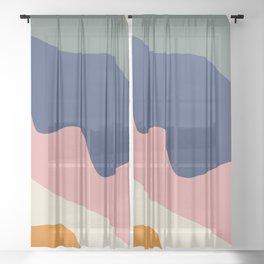 millennial color block Sheer Curtain