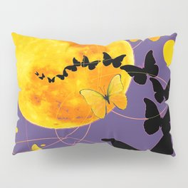 Puce Color Butterfly Full Moon Art Abstract Pillow Sham