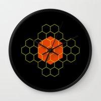 hexagon Wall Clocks featuring HEXAGON by KARNATARKA