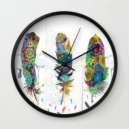 mandala colorful feathers Wall Clock