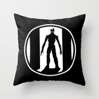 groot Throw Pillows featuring Groot by Comix