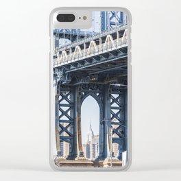 Manhattan Bridge Empire Blue Clear iPhone Case