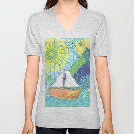 Sailboat Painting, Child's Room Decor, Sailing Art, Lake Art, Blue, Green, Yellow, Orange, Nautical Unisex V-Neck