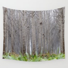 Foggy poplars. Mistery woods. Wall Tapestry
